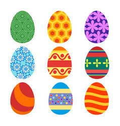 set of painted easter eggs for the holiday vector image