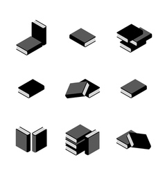 Set of stacks of books in black and white vector image