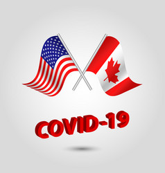 Set two waving crossed flags usa and canada vector