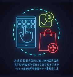 Shopping app neon light concept icon vector