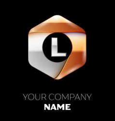 silver letter l symbol in silver-golden hexagonal vector image