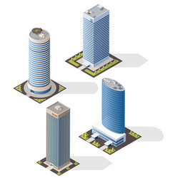 skyscraper building isometric icons bank office vector image