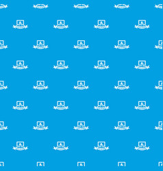 social network pattern seamless blue vector image