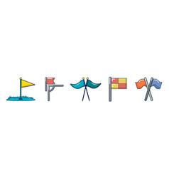 sport flag icon set cartoon style vector image