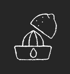 Squeeze lemon chalk white icon on dark background vector