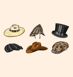 summer vintage hats collection for elegant men vector image