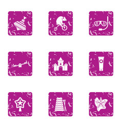 theme park icons set grunge style vector image