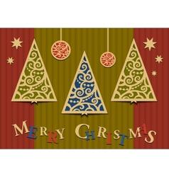 Three christmas trees applique vector