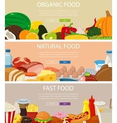 Three design banners set with organic food vector image