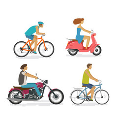 transportation trip driving icon set people vector image