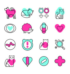 veterinary icons set animal medical vector image