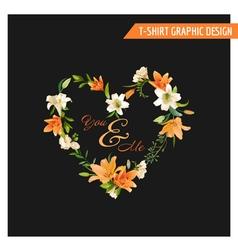 Vintage Floral Graphic Design - Summer Lily Flower vector
