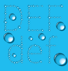 Water Drop Letters On Blue New 02 vector image