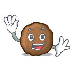 Waving meatball character cartoon style vector