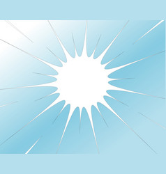 white radial hole with rift fracture on blue vector image