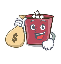 with money bag hot chocolate character cartoon vector image