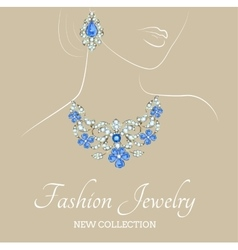 woman with jewelry necklace and earrings vector image