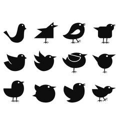 social bird icons vector image vector image