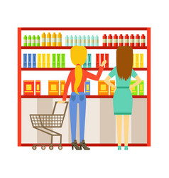 woman shopping at supermarket and buying products vector image