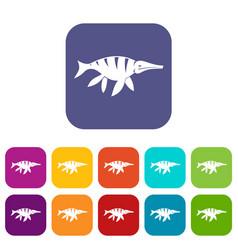 Aquatic dinosaur icons set flat vector
