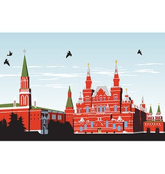 Birds fly over Red Square vector image