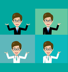 glasses man presenting in suit and doctor costume vector image vector image