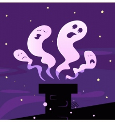 Halloween ghosts and chimney vector image vector image