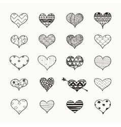 Hand Drawn Heart Shapes with Doodle vector image