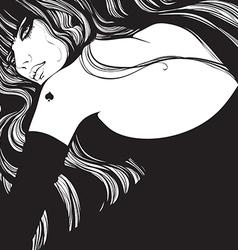 queen of spades in a black dress vector image vector image