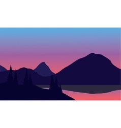 Silhouette of mountain by the lake vector