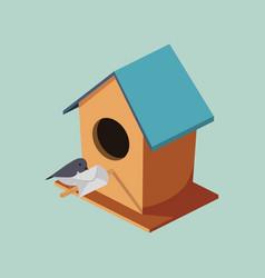 birdhouse with post bird isometric vector image vector image