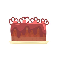 chocolate cake for birthday party sweet dessert vector image vector image
