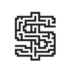 Dollar business flat black maze vector image vector image