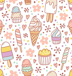 Yummy ice cream seamless pattern vector image