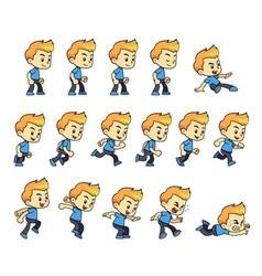 Blue Shirt Boy Game Sprites vector image