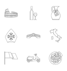 Country Italy icons set outline style vector image vector image