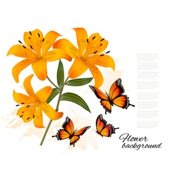 Flower Background With Three Beautiful Lilies and vector image vector image