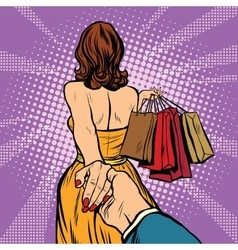 Follow me young woman leads a man shopping vector image