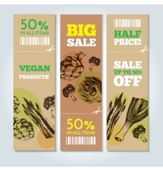 Hand-drawn vegetables on banners vector image vector image