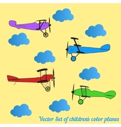 set of children colored retro planes and vector image