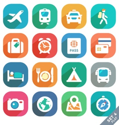 Traveling and transport Flat icons vector image vector image