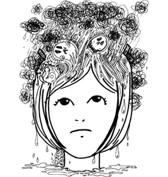 Woman head full of nightmares vector image