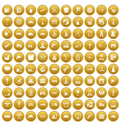 100 lorry icons set gold vector