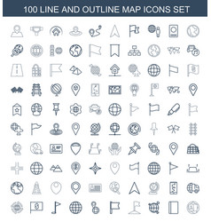100 map icons vector image