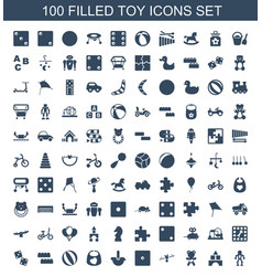 100 toy icons vector