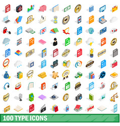 100 type icons set isometric 3d style vector image