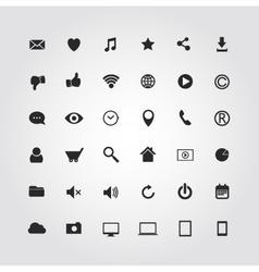 36 web media icons set vector image vector image