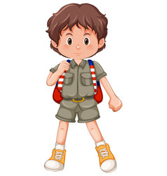 a brunette boy scout character vector image