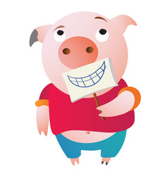 A tired pig is pretending holding a fake smile vector