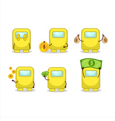 Among us yellow cartoon character with cute vector
